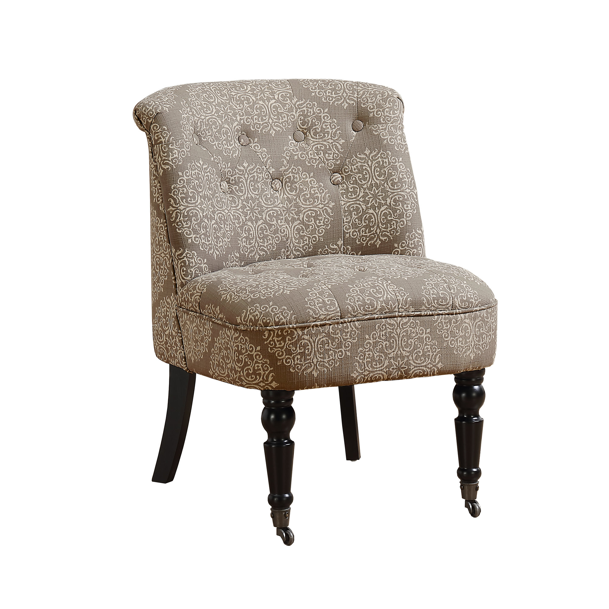 ACCENT CHAIR - TRADITIONAL STYLE TAUPE SNOWFLAKE FABRIC