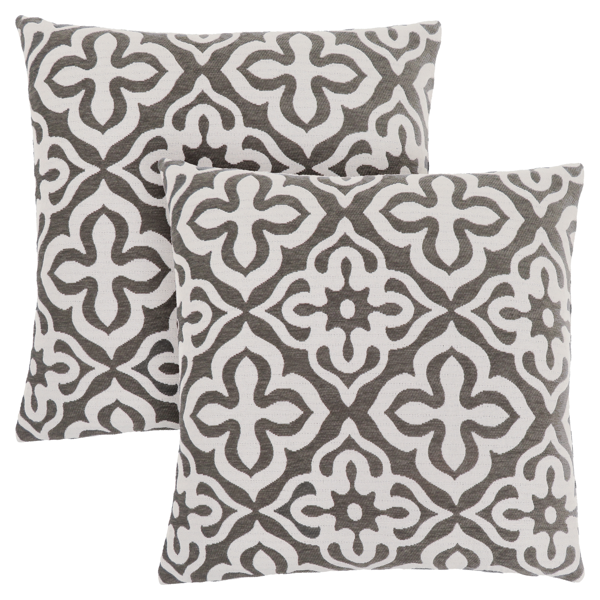 "PILLOW - 18""X 18"" / DARK TAUPE MOTIF DESIGN / 2PCS"