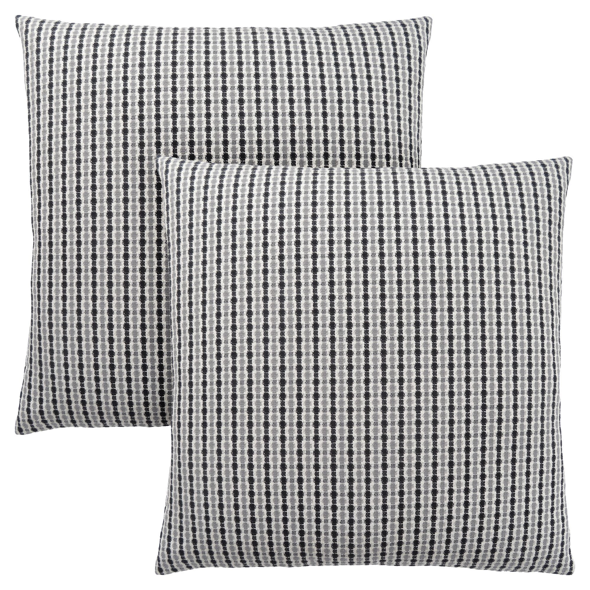 "PILLOW - 18""X 18"" / LIGHT GREY / BLACK ABSTRACT DOT / 2PC"