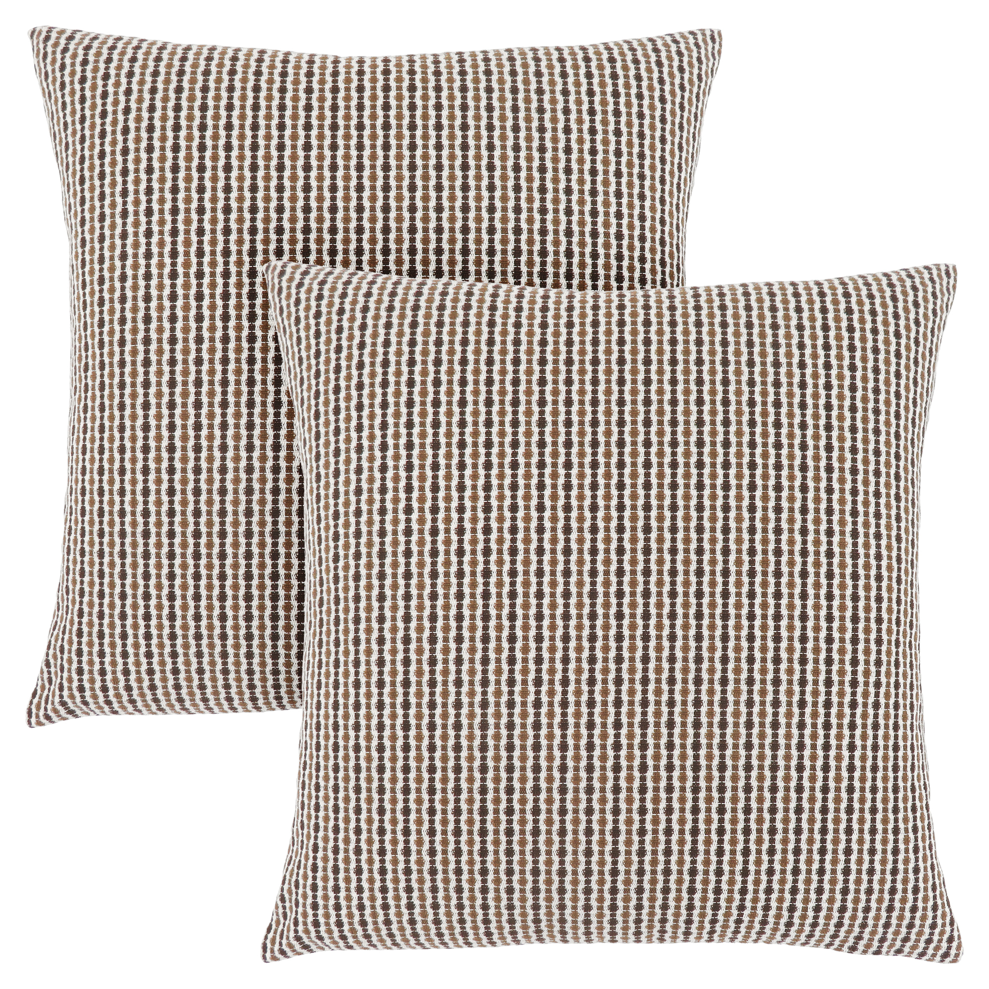 "PILLOW - 18""X 18"" / LIGHT / DARK BROWN ABSTRACT DOT / 2PC"