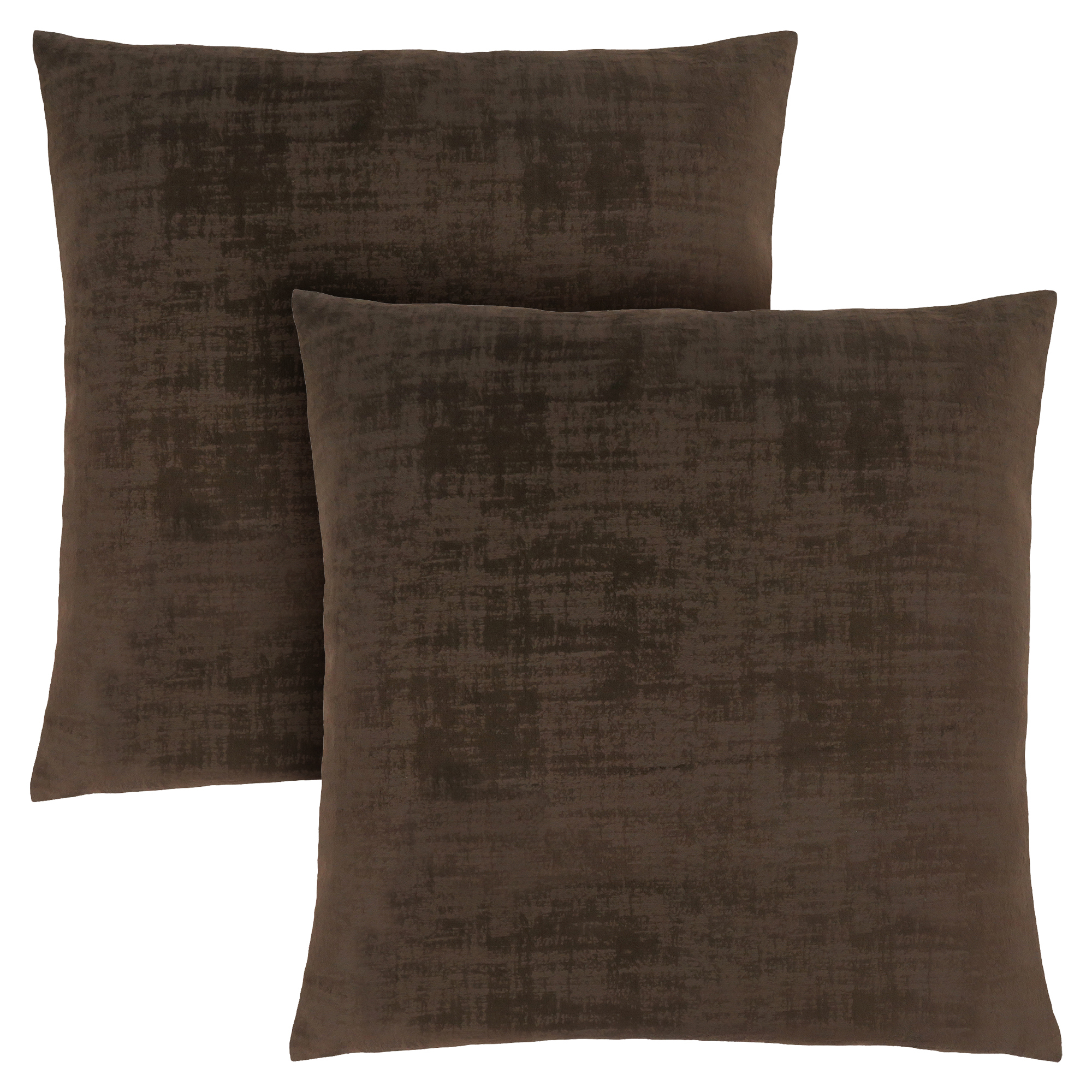 "PILLOW - 18""X 18"" / DARK BROWN BRUSHED VELVET / 2PCS"