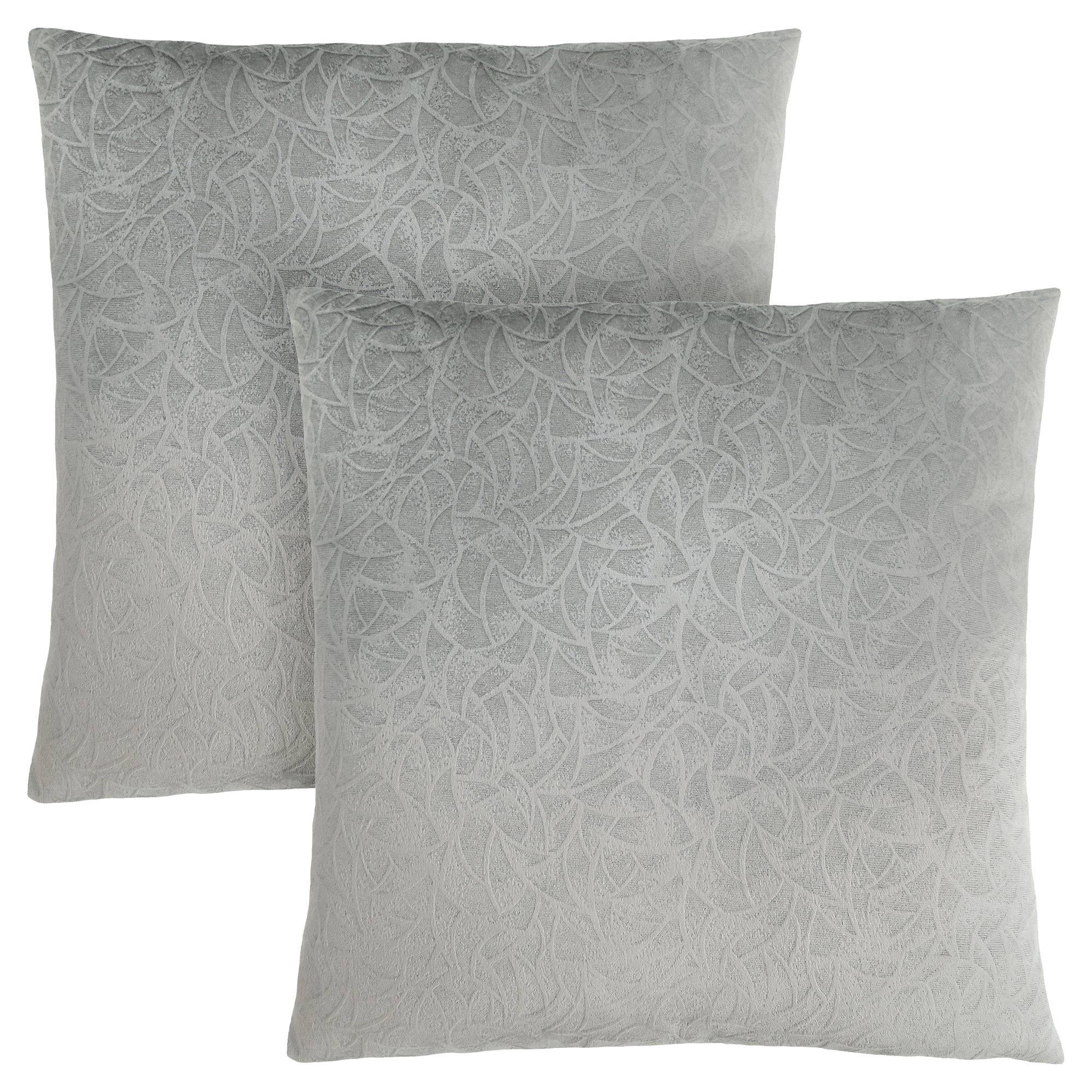 "PILLOW - 18""X 18"" / LIGHT GREY FLORAL VELVET / 2PCS"