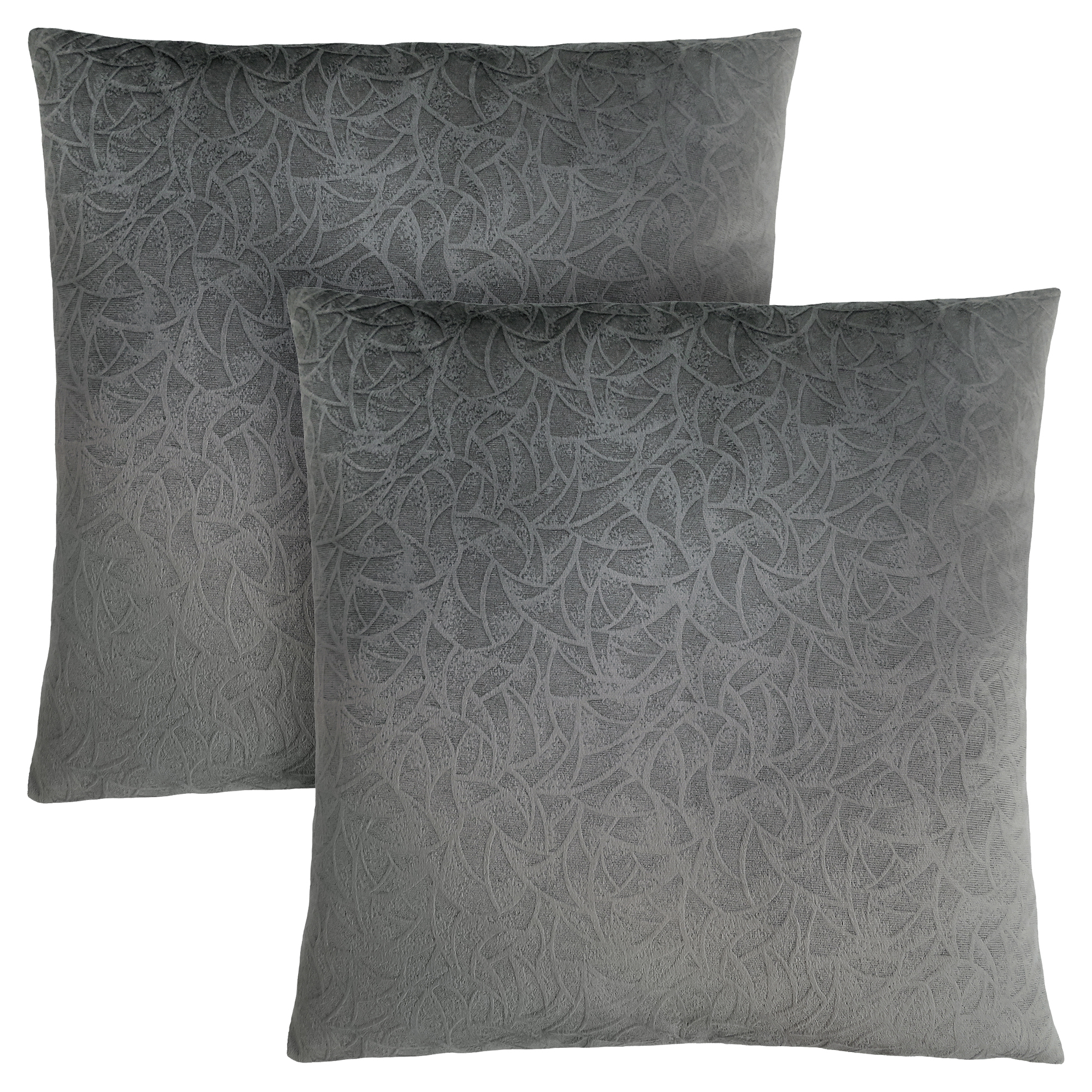 "PILLOW - 18""X 18"" / DARK GREY FLORAL VELVET / 2PCS"