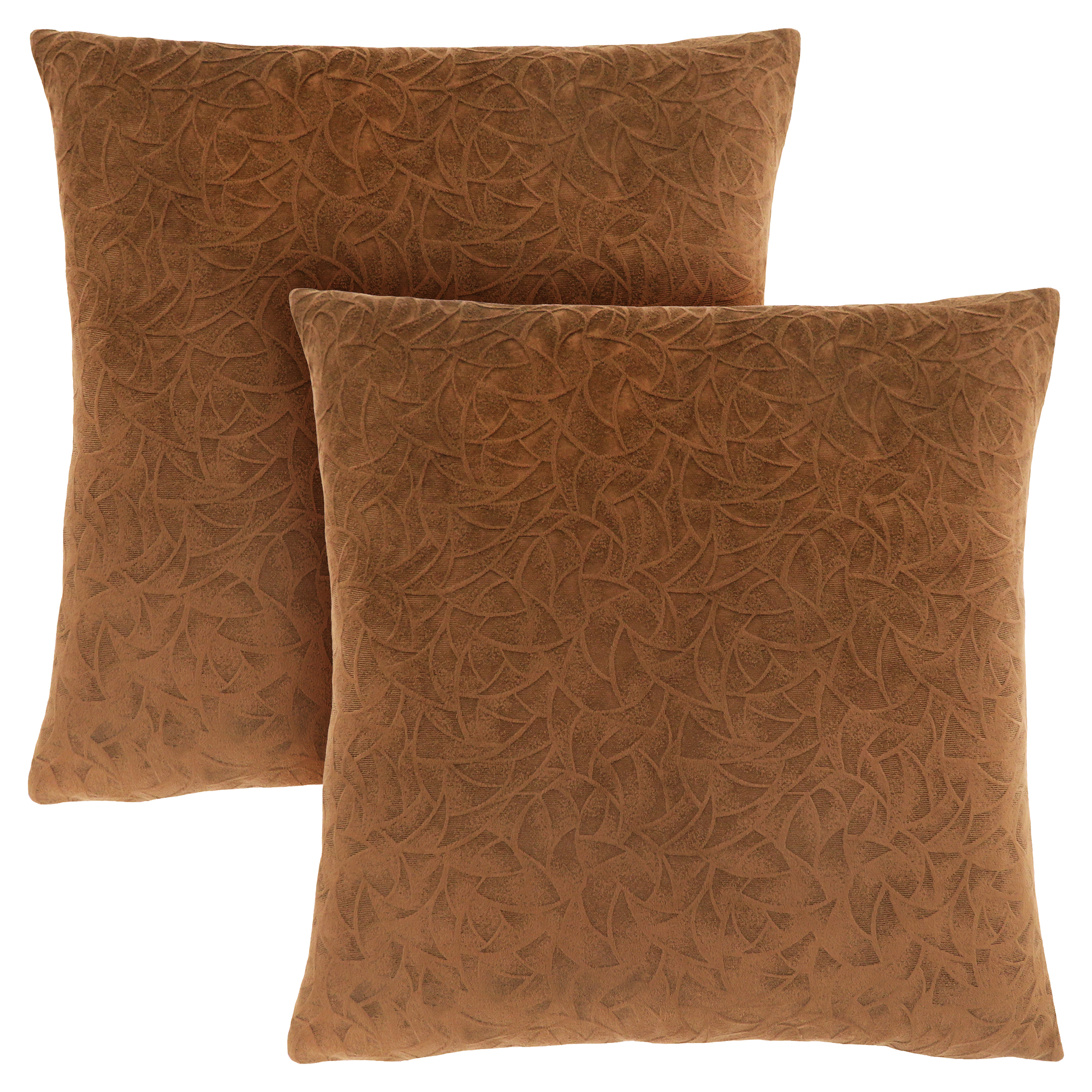 "PILLOW - 18""X 18"" / LIGHT BROWN FLORAL VELVET / 2PCS"
