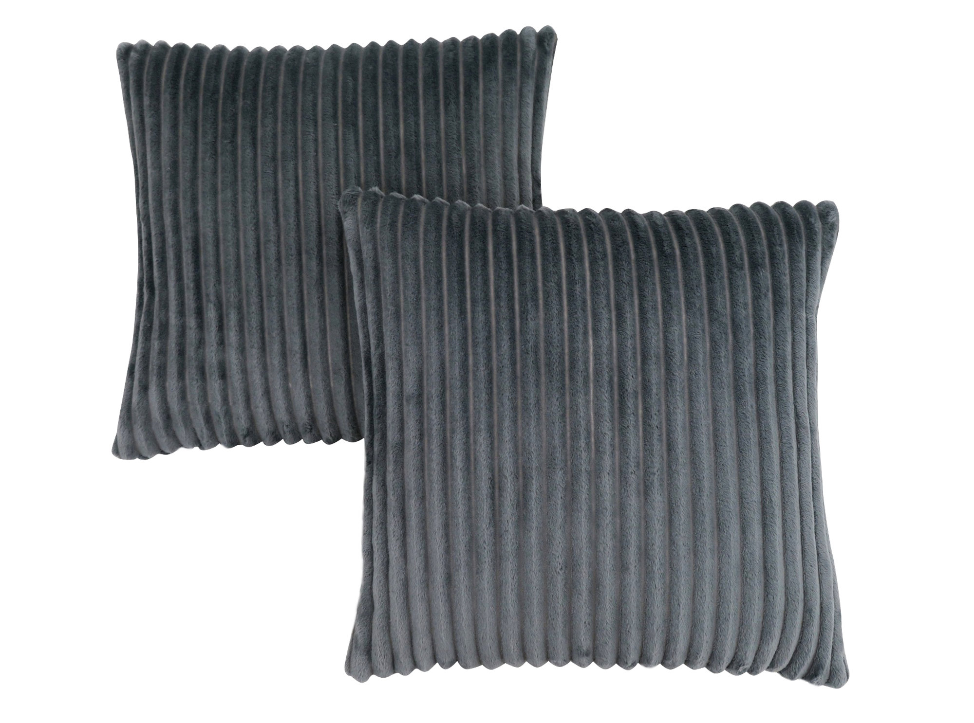 "PILLOW - 18""X 18"" / GREY TEXTURED RIB / 2PCS"