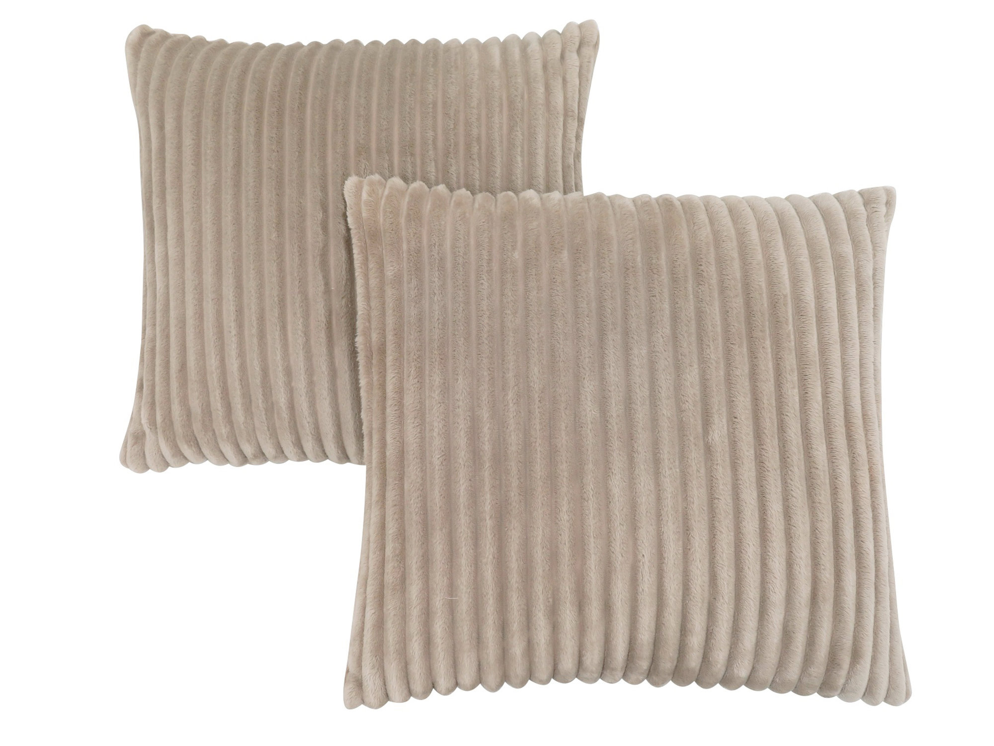 "PILLOW - 18""X 18"" / BEIGE TEXTURED RIB / 2PCS"