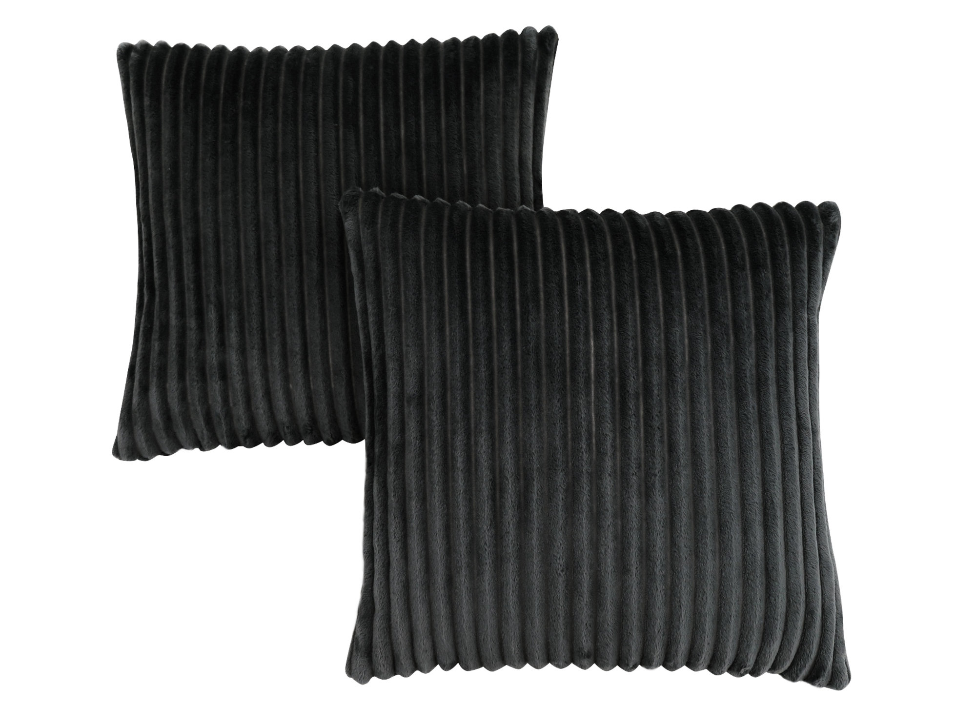 "PILLOW - 18""X 18"" / BLACK TEXTURED RIB / 2PCS"