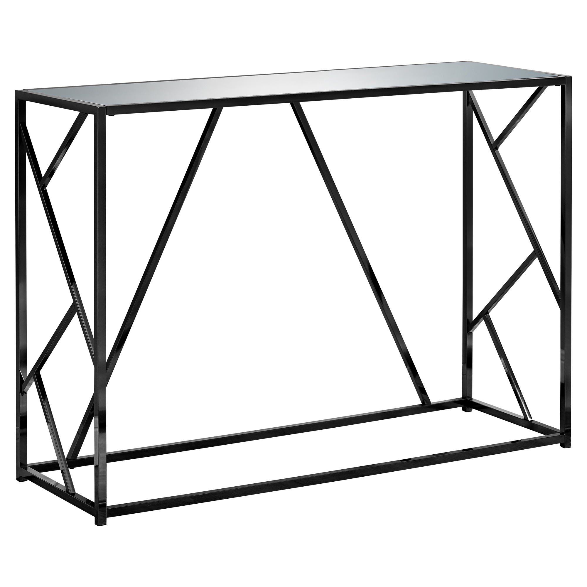 "CONSOLE TABLE - 42""L / BLACK NICKEL METAL / MIRROR TOP"
