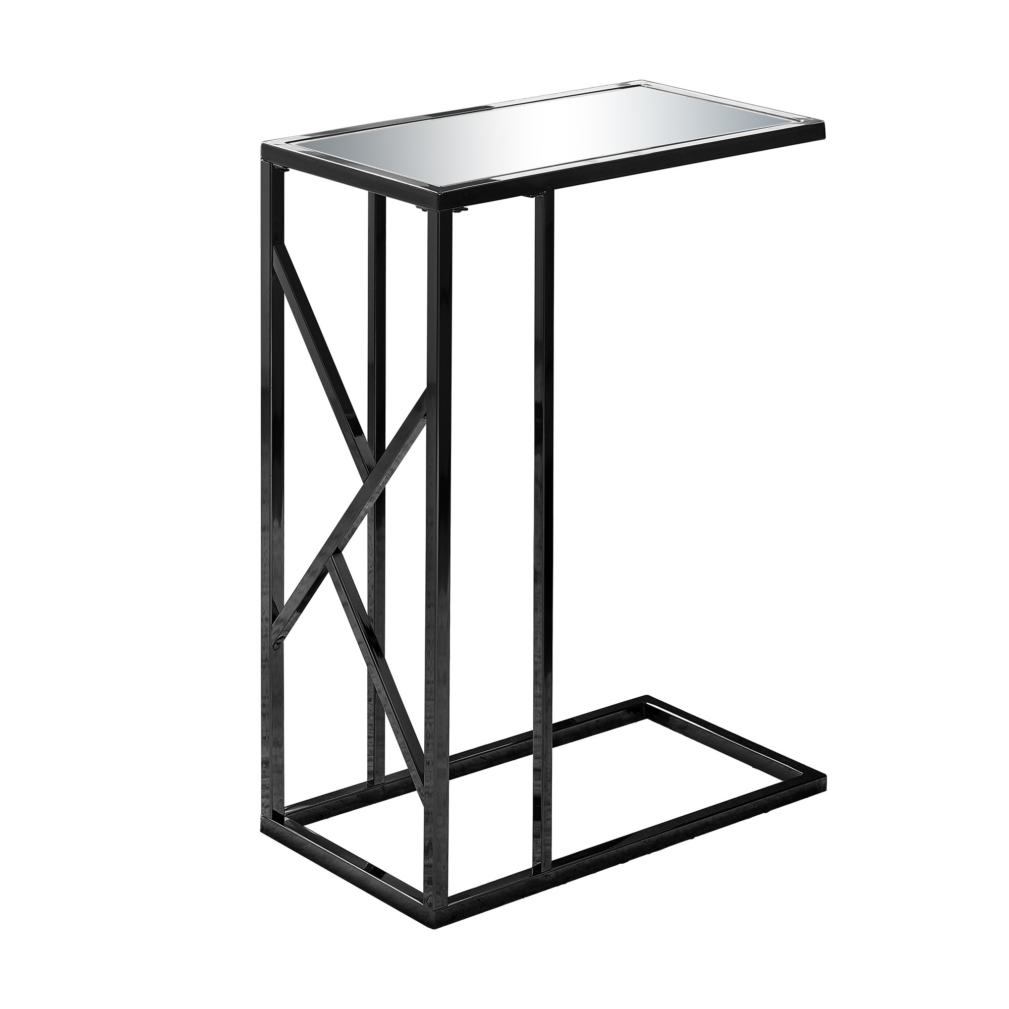ACCENT TABLE - BLACK NICKEL METAL / MIRROR TOP