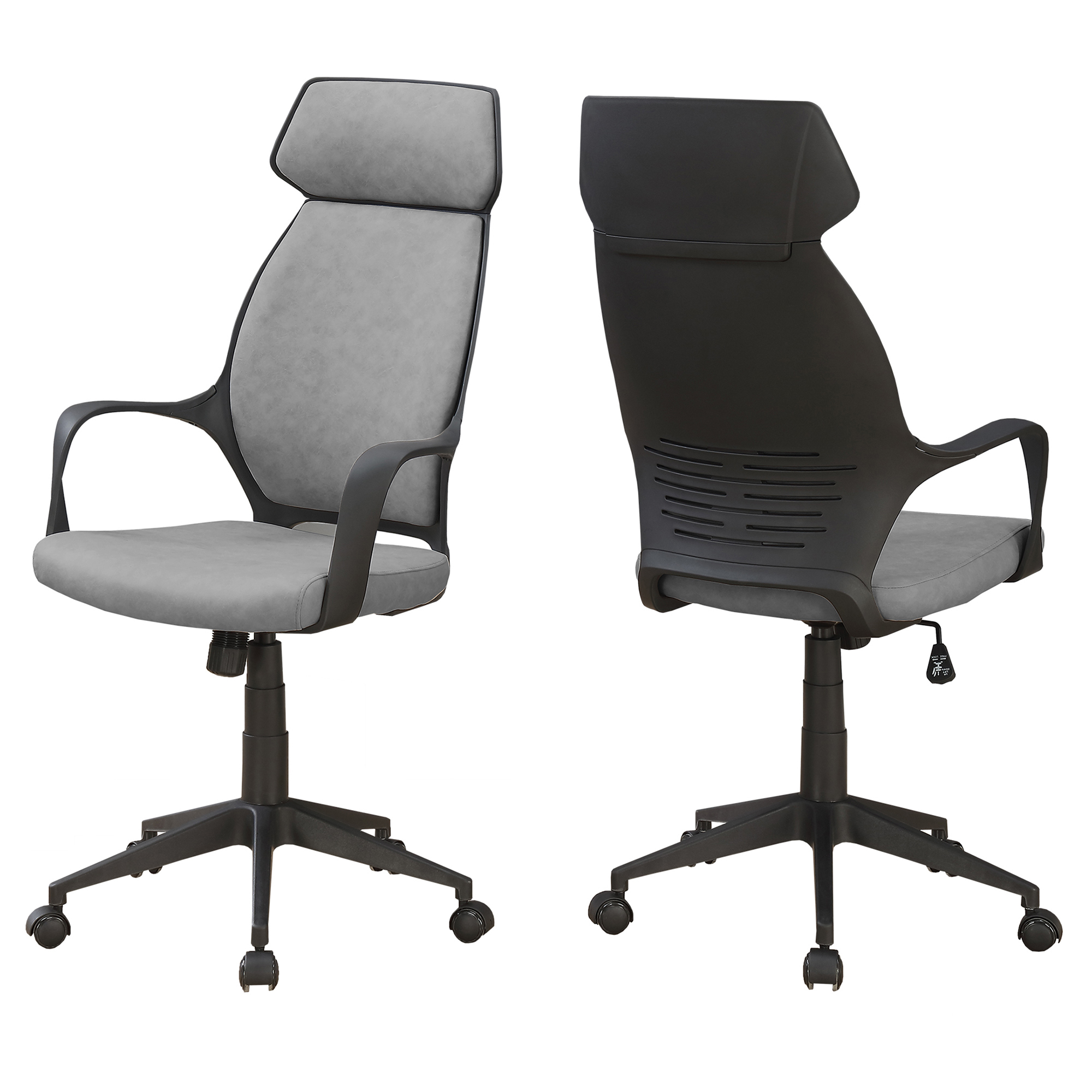 OFFICE CHAIR - GREY MICROFIBER / HIGH BACK EXECUTIVE