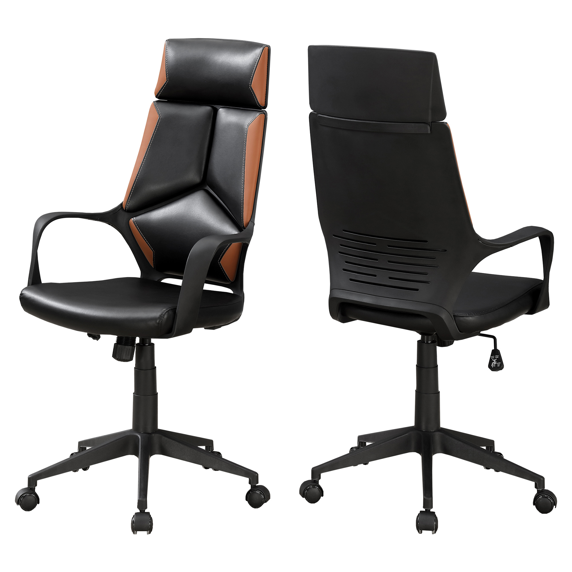 OFFICE CHAIR - BLACK / BROWN LEATHER-LOOK / EXECUTIVE