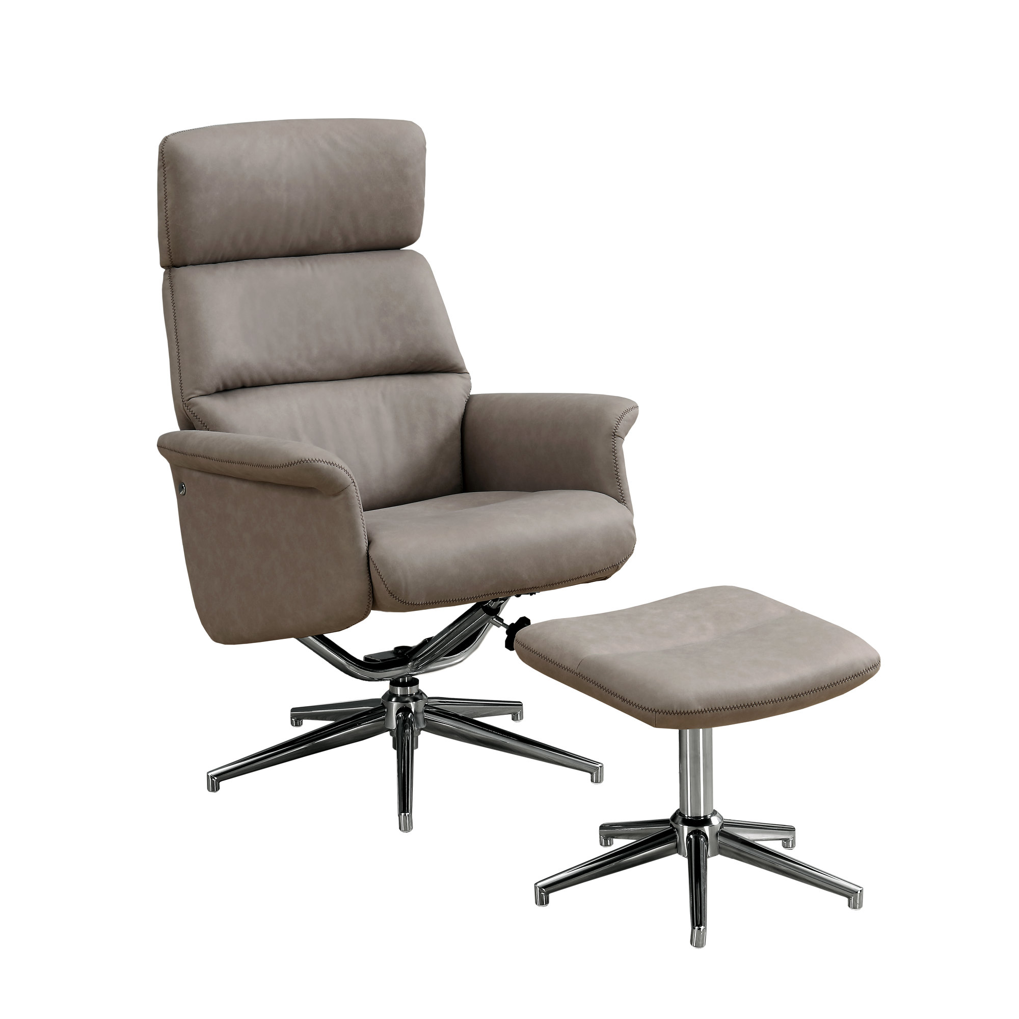 RECLINER - 2PCS SET / TAUPE SWIVEL - ADJUSTABLE HEADREST