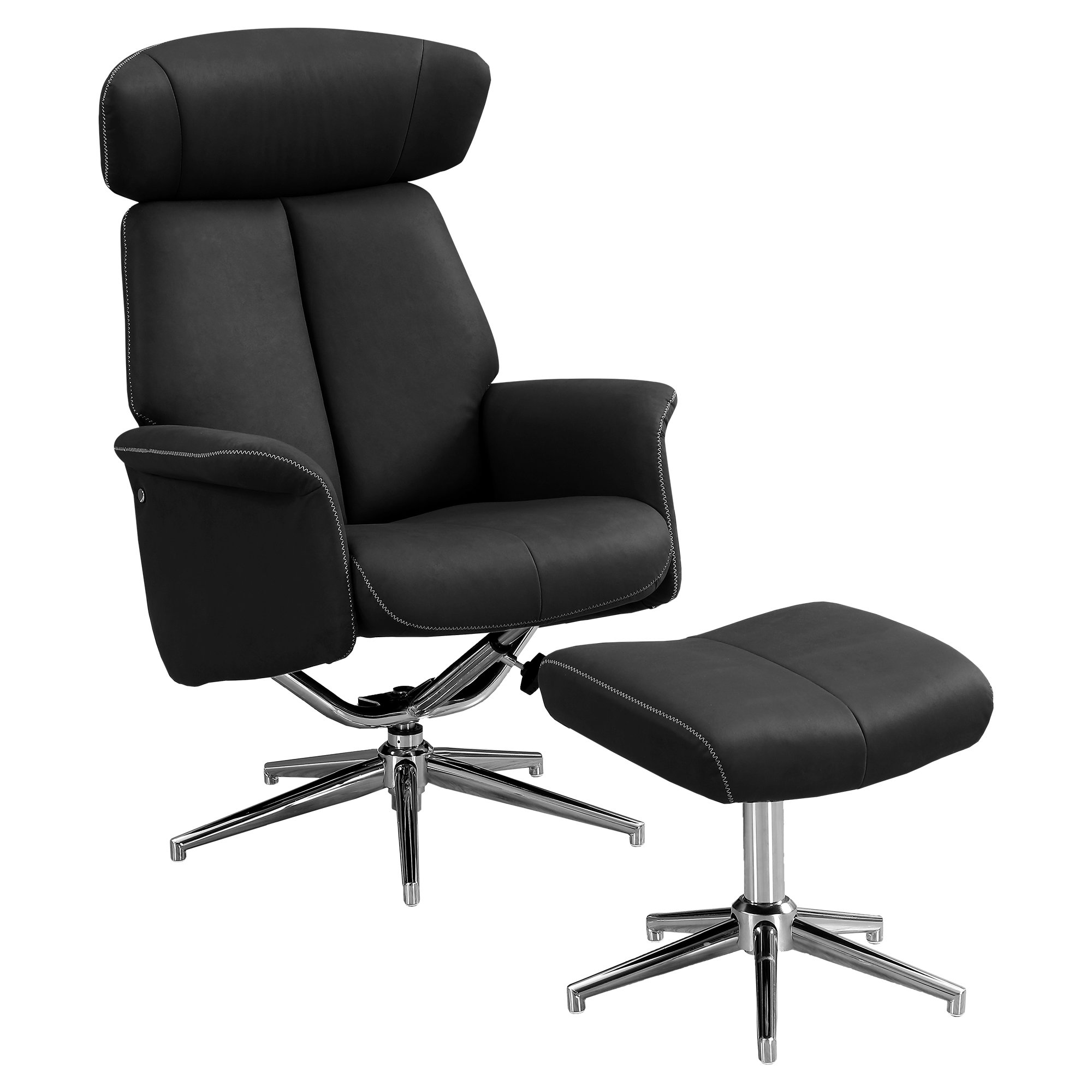 RECLINER - 2PCS SET / BLACK SWIVEL - ADJUSTABLE HEADREST