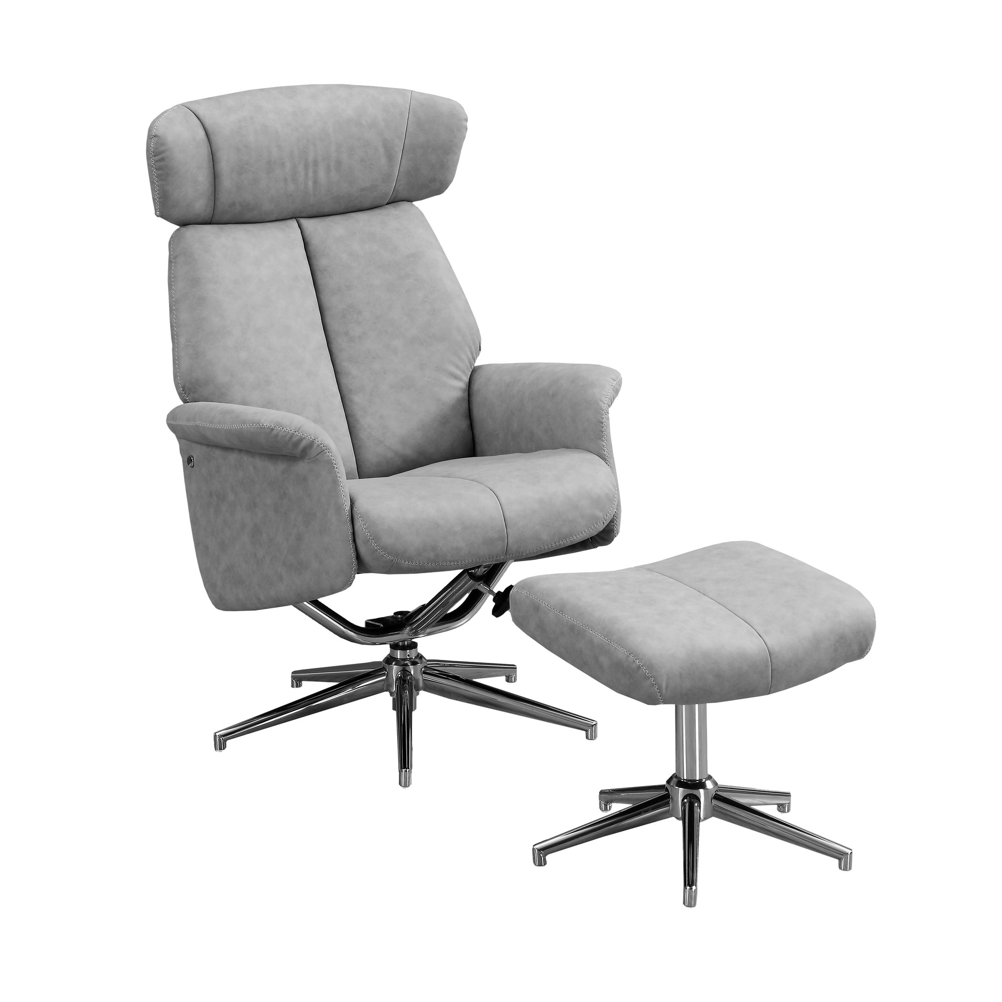 RECLINING CHAIR - 2PCS SET / GREY SWIVEL -ADJUST HEADREST