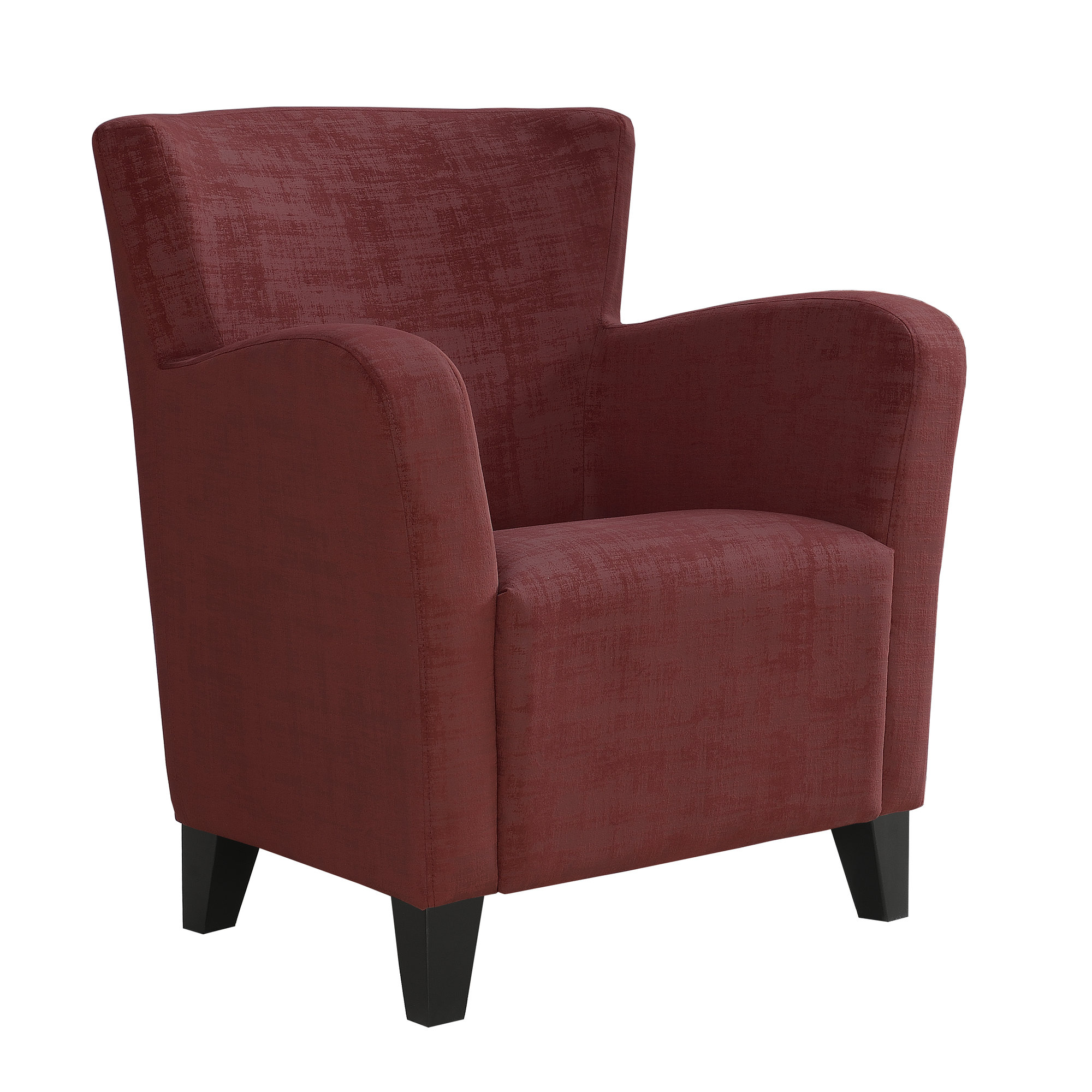 ACCENT CHAIR - RED BRUSHED VELVET FABRIC