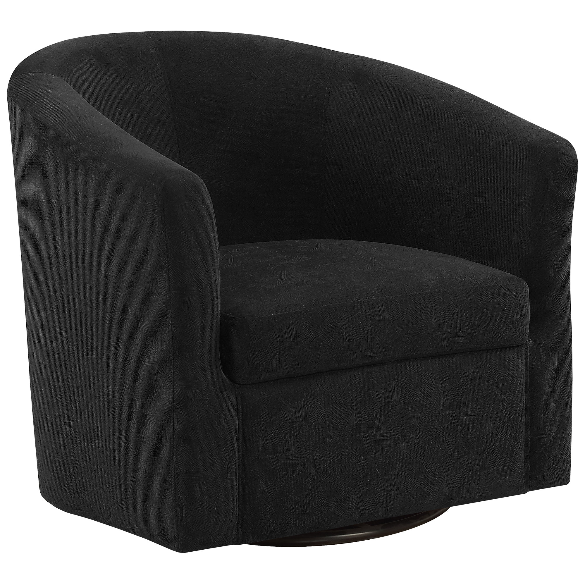 ACCENT CHAIR - SWIVEL / BLACK ABSTRACT VELVET