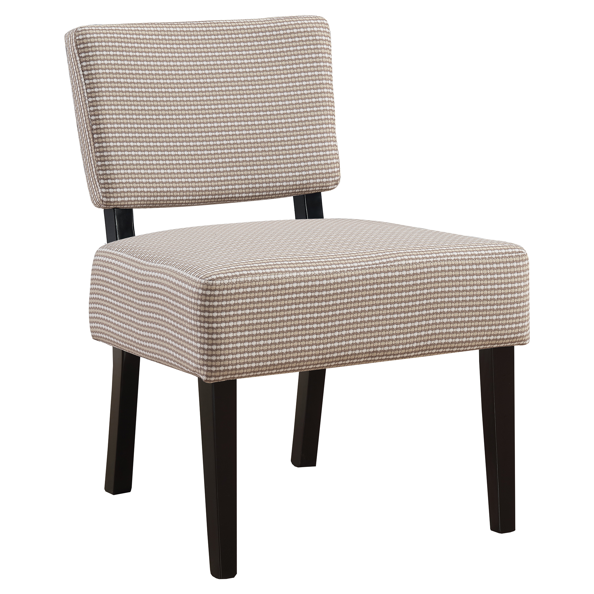 ACCENT CHAIR - LIGHT / DARK TAUPE ABSTRACT DOT FABRIC