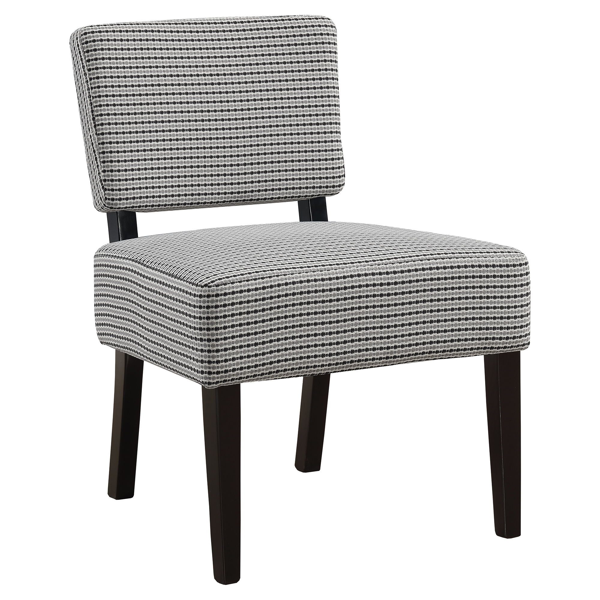 ACCENT CHAIR - LIGHT GREY / BLACK ABSTRACT DOT FABRIC