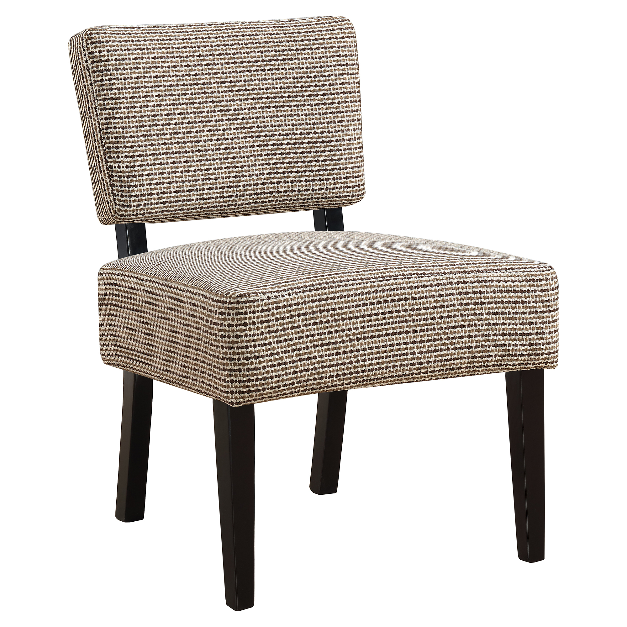 ACCENT CHAIR - LIGHT / DARK BROWN ABSTRACT DOT FABRIC