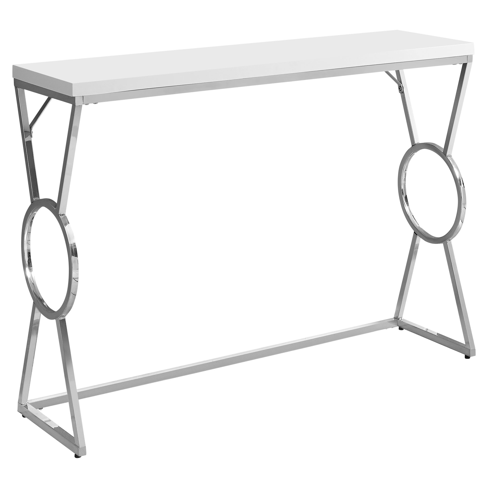 """ACCENT TABLE - 42""""L / GLOSSY WHITE / CHROME METAL"""