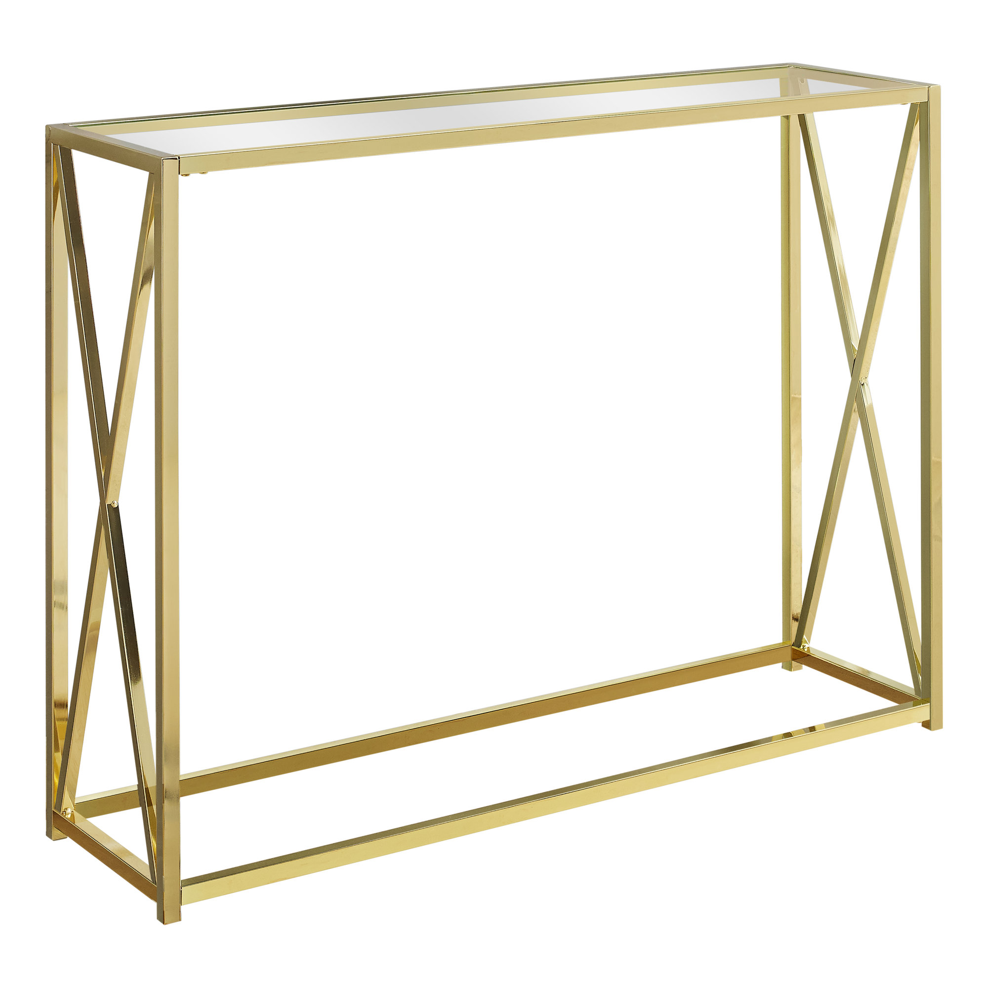 """ACCENT TABLE - 42""""L / GOLD METAL WITH TEMPERED GLASS"""
