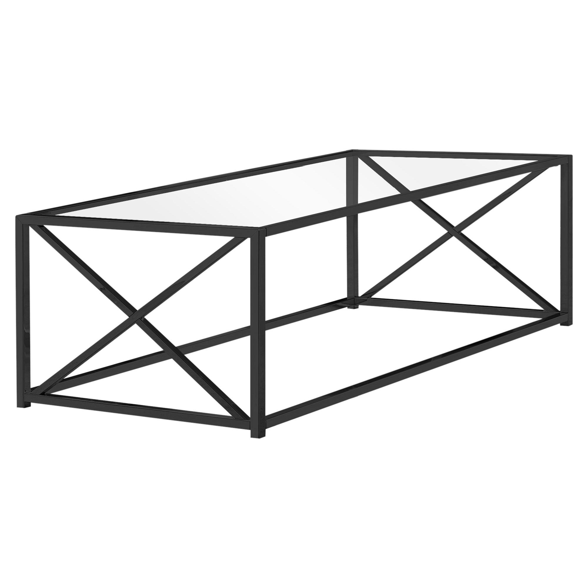 "COFFEE TABLE - 44""L / BLACK NICKEL METAL / TEMPERED GLASS"