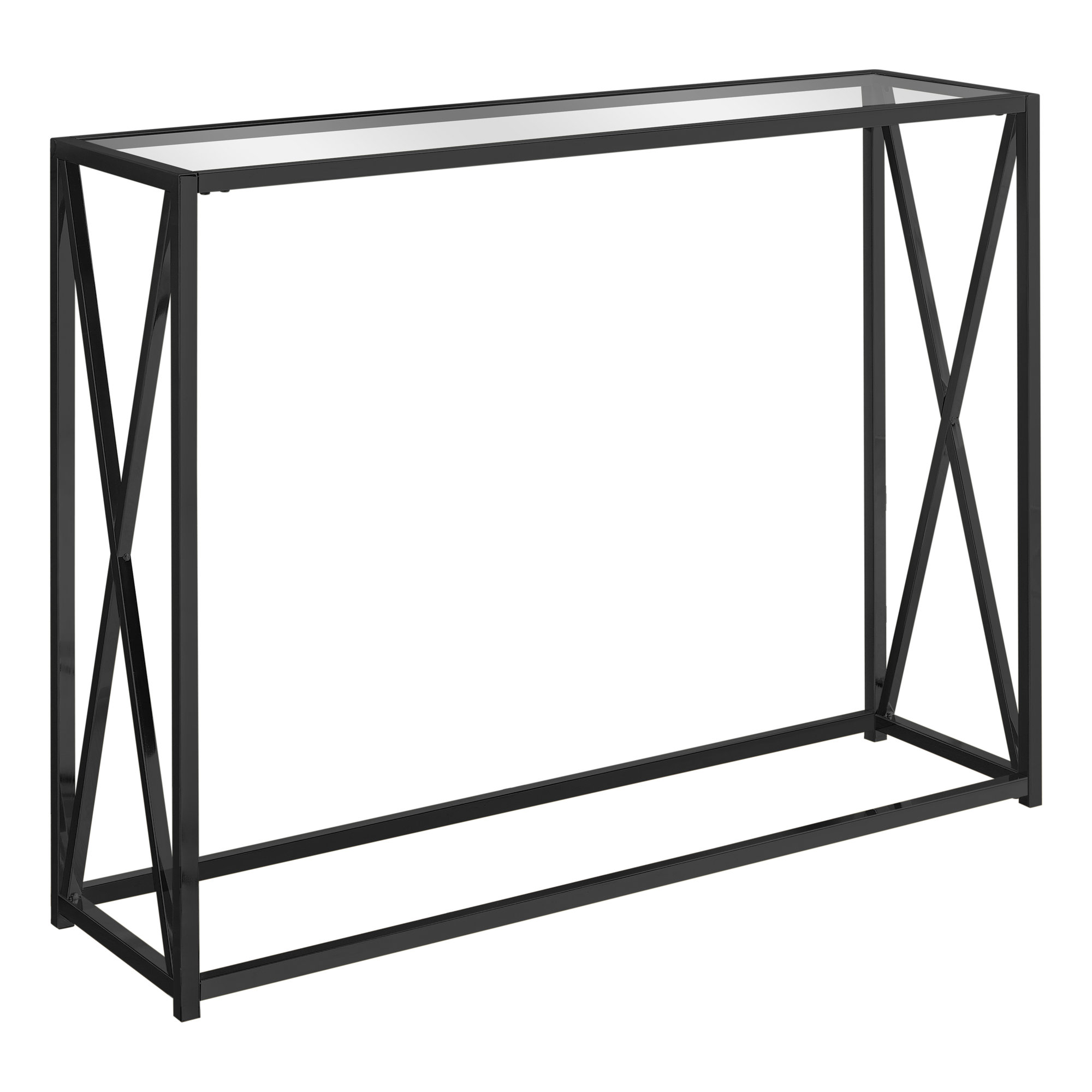 """ACCENT TABLE - 42""""L / BLACK NICKEL METAL / TEMPERED GLASS"""