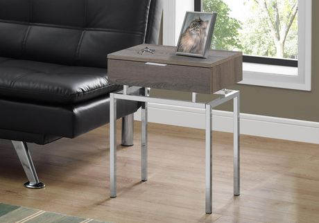 """ACCENT TABLE - 24""""H / DARK TAUPE / CHROME METAL"""
