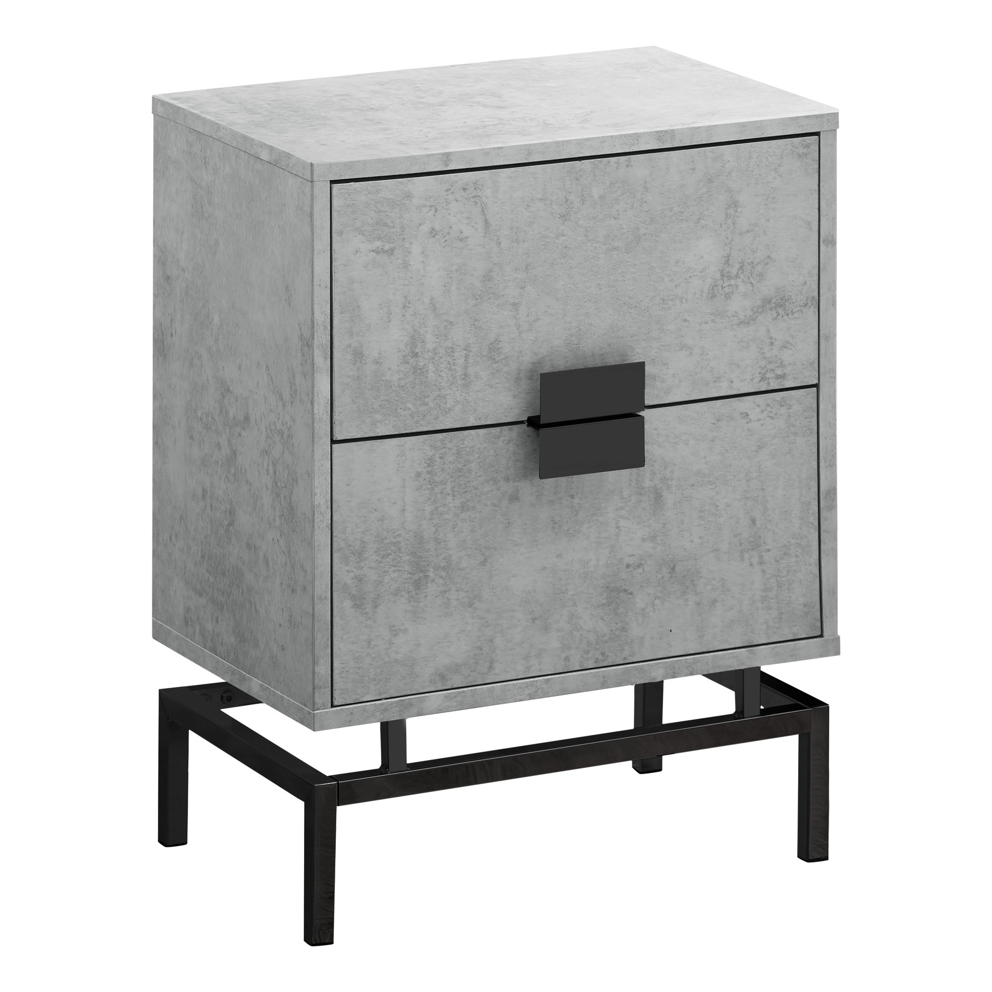 "ACCENT TABLE - 24""H / GREY CEMENT / BLACK NICKEL METAL"