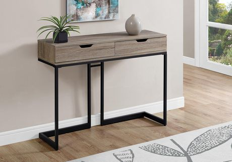 """ACCENT TABLE - 42""""L / DARK TAUPE / BLACK HALL CONSOLE"""