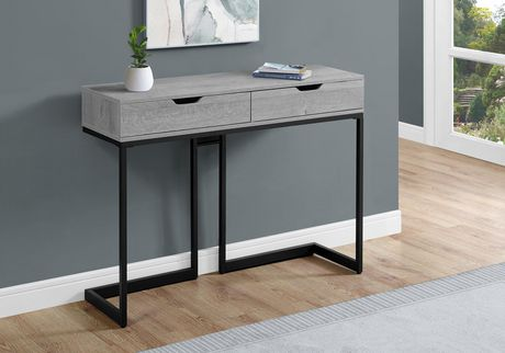 """ACCENT TABLE - 42""""L / GREY/ BLACK METAL HALL CONSOLE"""