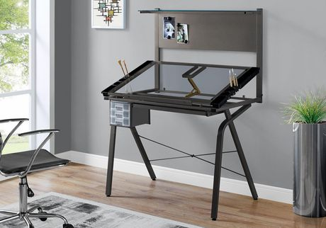 DRAFTING TABLE - ADJUSTABLE / BLACK METAL/ TEMPERED GLASS
