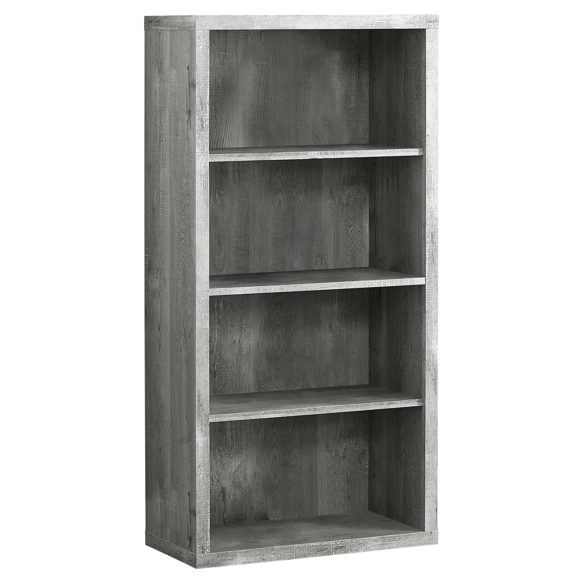 "BOOKCASE - 48""H / GREY WOOD GRAIN / ADJUSTABLE SHELVES"