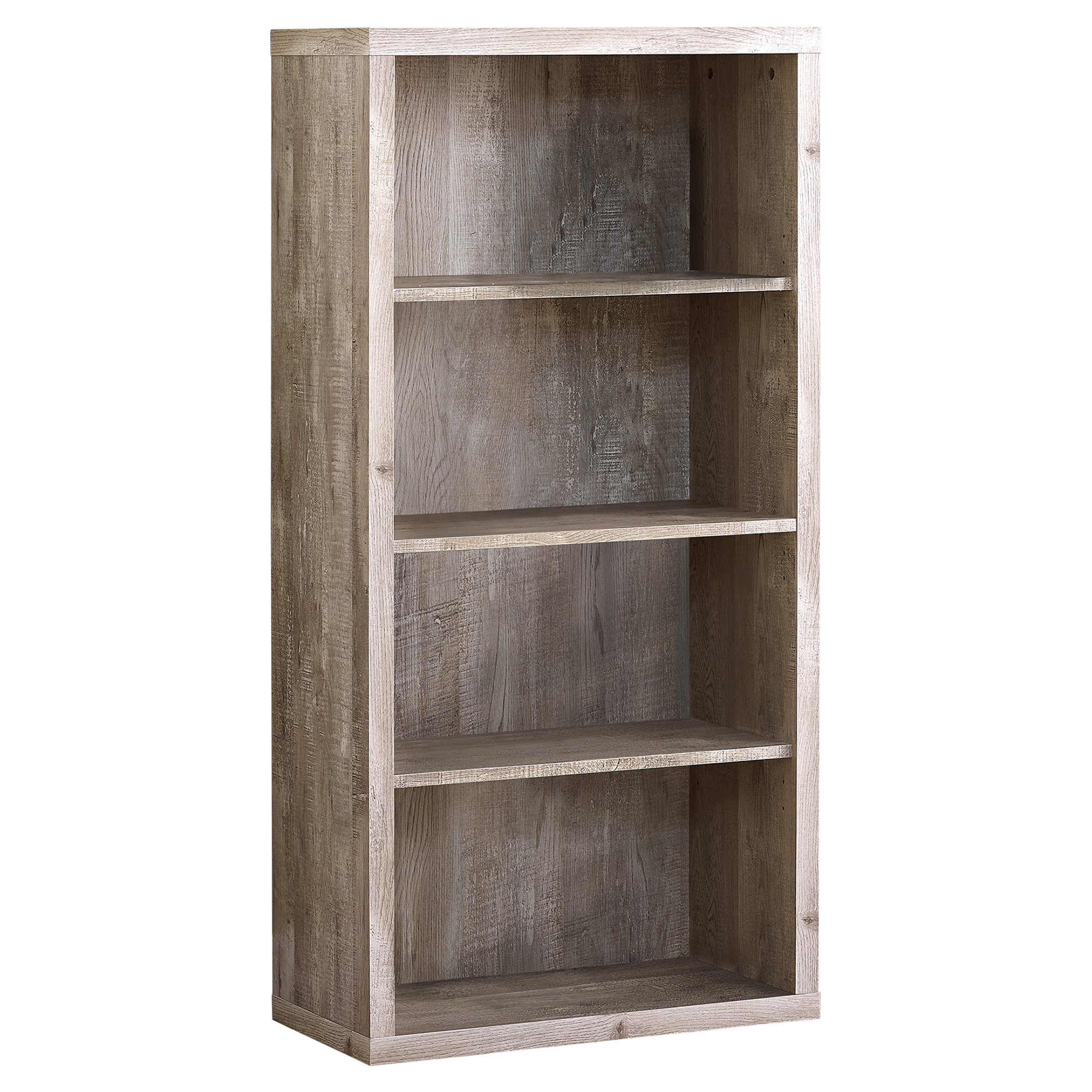 "BOOKCASE - 48""H / TAUPE WOOD GRAIN / ADJUSTABLE SHELVES"