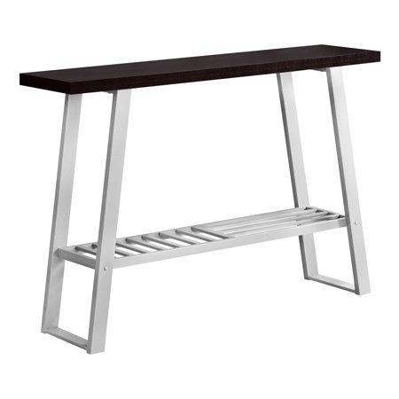 """ACCENT TABLE - 48""""L / CAPPUCCINO / SILVER HALL CONSOLE"""