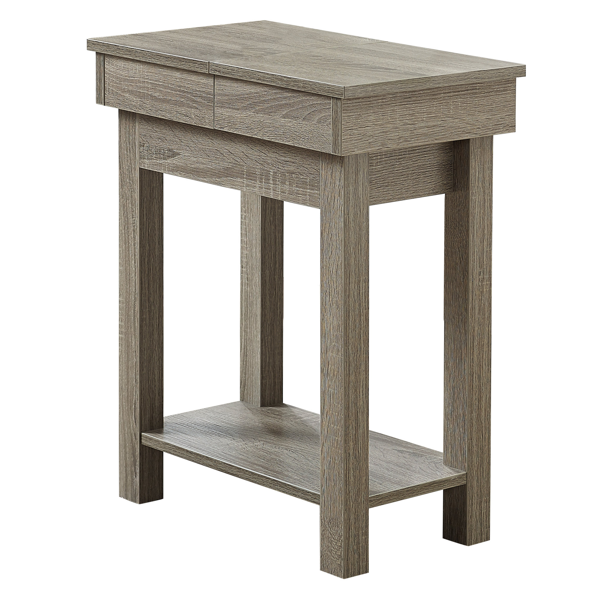 """ACCENT TABLE - 24""""H / DARK TAUPE WITH STORAGE"""