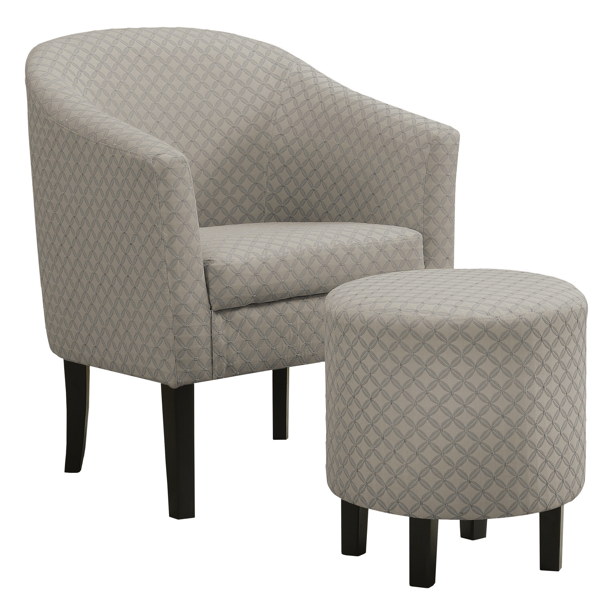 ACCENT CHAIR - 2PCS SET / LIGHT GREY GEOMETRIC FABRIC