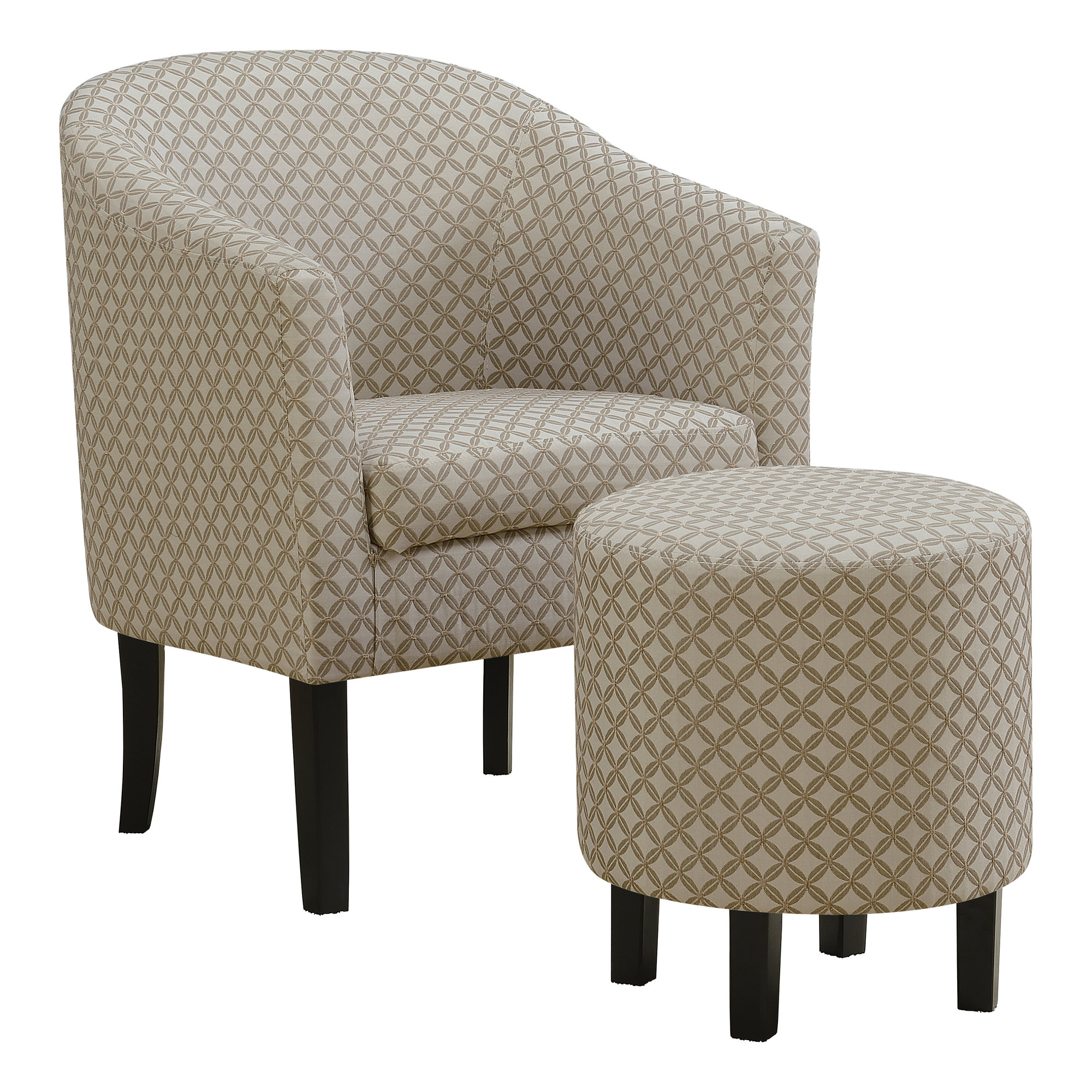 ACCENT CHAIR - 2PCS SET / DARK TAUPE GEOMETRIC FABRIC