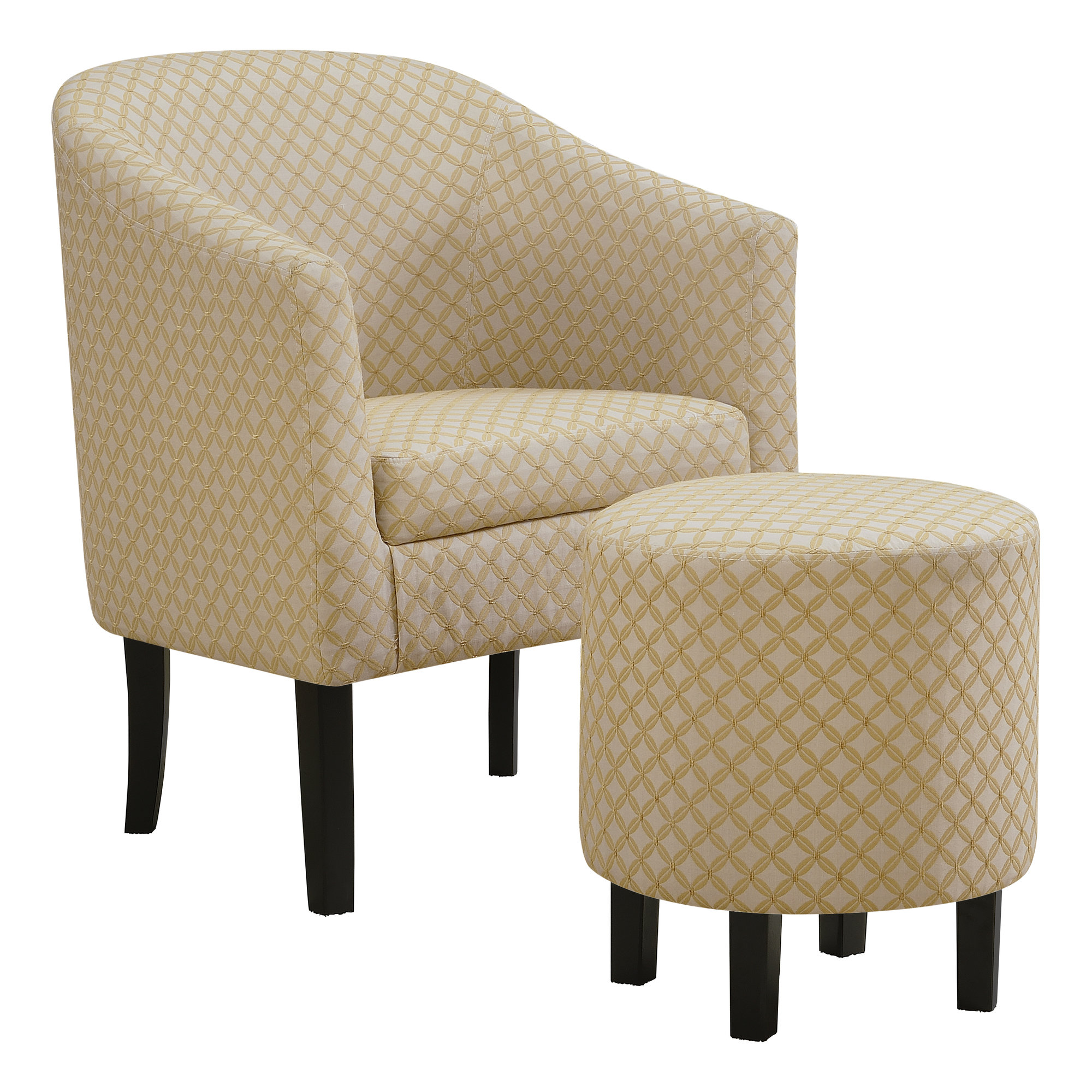 ACCENT CHAIR - 2PCS SET / LIGHT YELLOW GEOMETRIC FABRIC