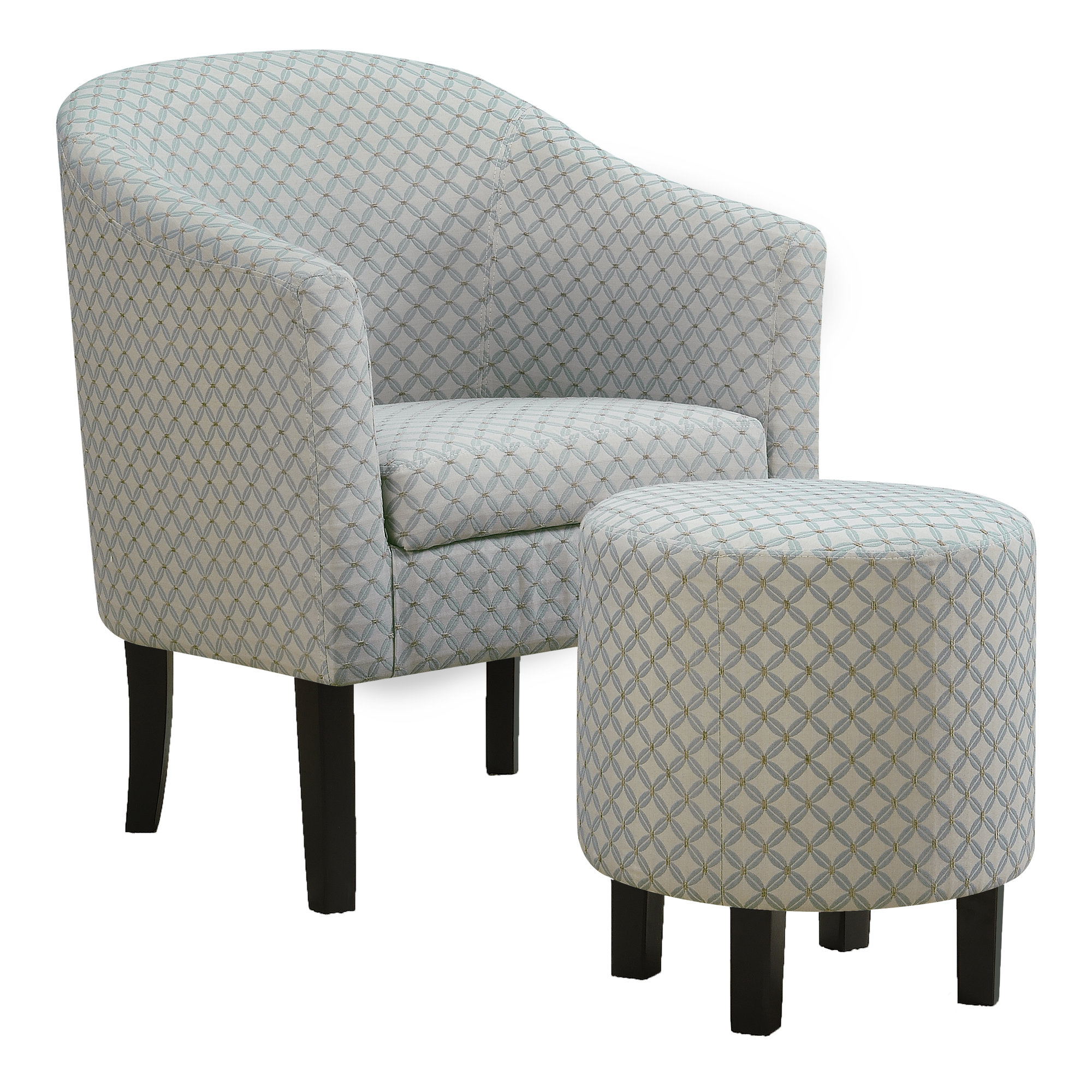 ACCENT CHAIR - 2PCS SET / LIGHT BLUE GEOMETRIC FABRIC