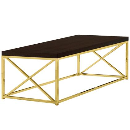 COFFEE TABLE - CAPPUCCINO WITH GOLD METAL