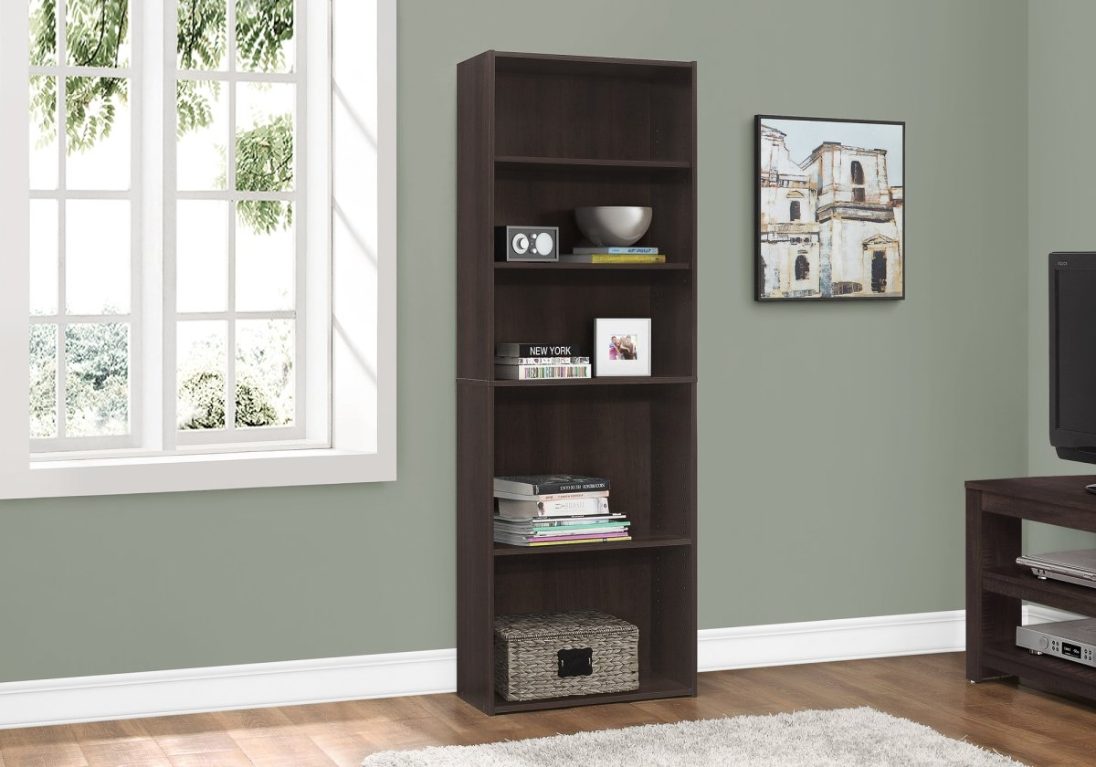 """BOOKCASE - 72""""H / CAPPUCCINO WITH 5 SHELVES"""