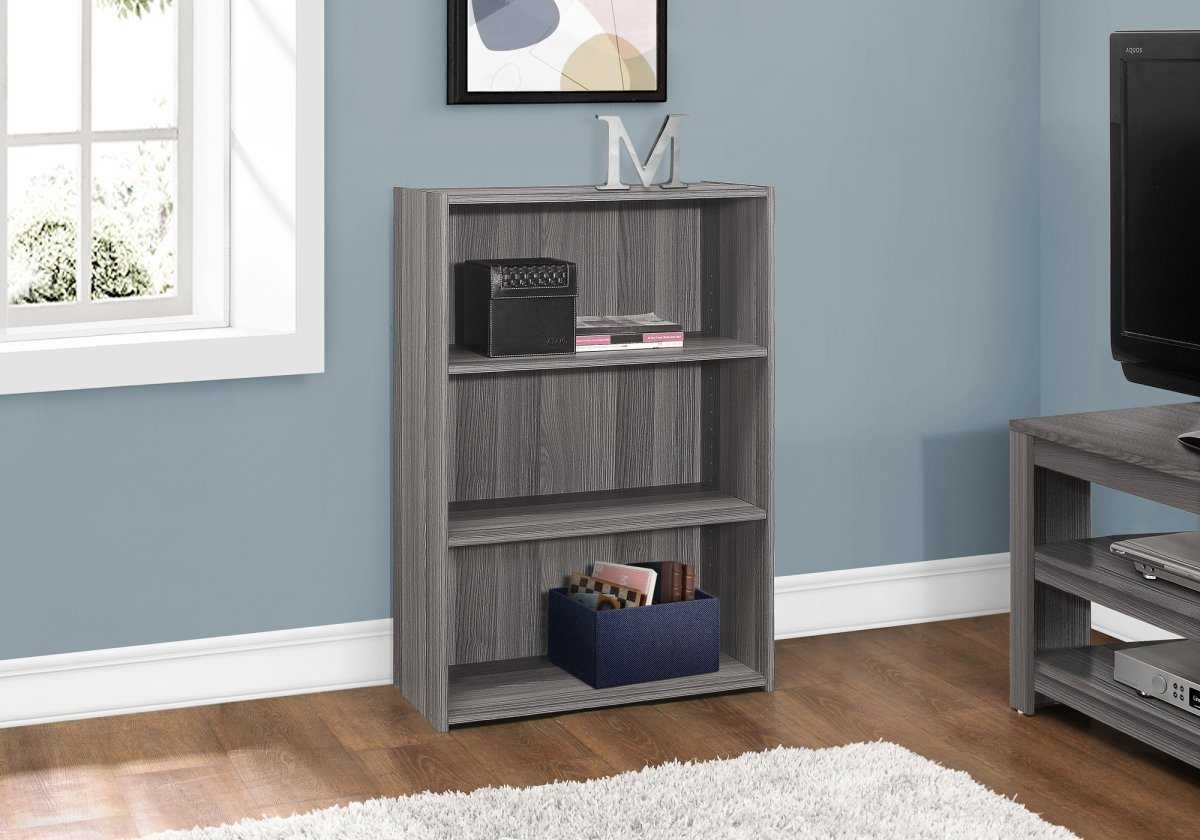 """BOOKCASE - 36""""H / GREY WITH 3 SHELVES"""