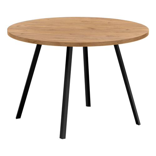 "DINING TABLE - 48""DIA/ GOLDEN PINE / BLACK METAL"