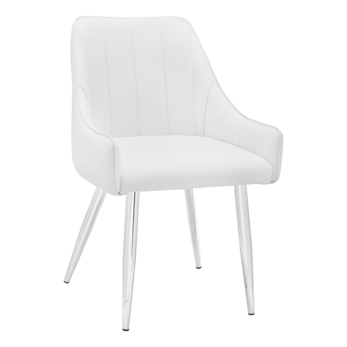 "DINING CHAIR - 2PCS / 33""H / WHITE LEATHER-LOOK / CHROME"
