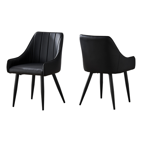 """DINING CHAIR - 2PCS / 33""""H / BLACK LEATHER-LOOK / BLACK"""