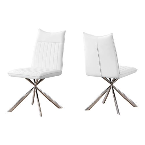 "DINING CHAIR - 2PCS / 36""H / WHITE LEATHER-LOOK / CHROME"