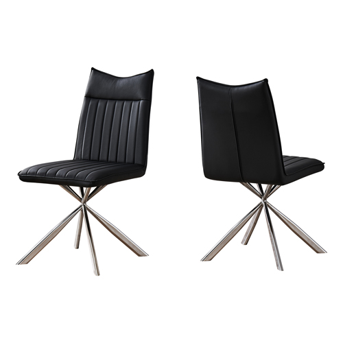 """DINING CHAIR - 2PCS / 36""""H / BLACK LEATHER-LOOK / CHROME"""