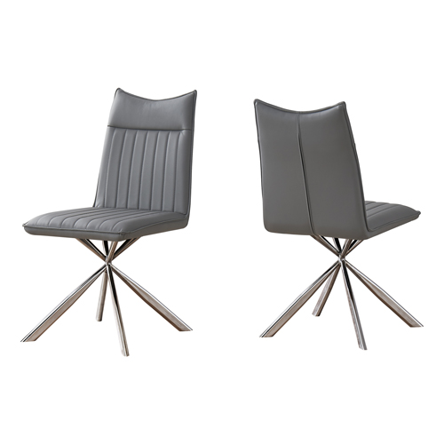 "DINING CHAIR - 2PCS / 36""H / GREY LEATHER-LOOK / CHROME"