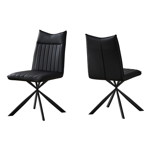 "DINING CHAIR - 2PCS / 36""H / BLACK LEATHER-LOOK / BLACK"